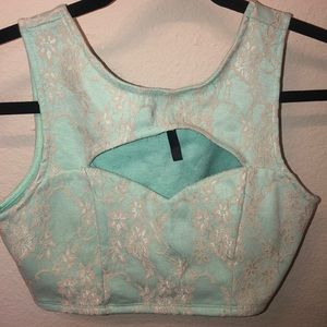 Baby blue with lace overlay crop top